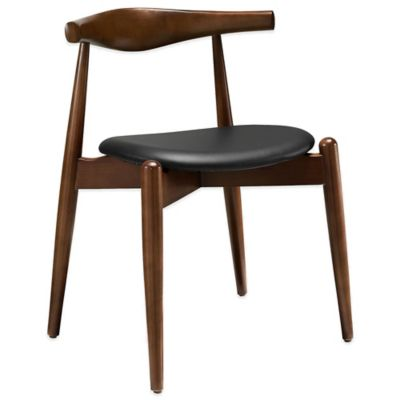 Modway Stalwart Dining Side Chair in Walnut/Black
