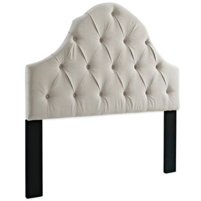 Pulaski Tufted Upholstered Full/Queen Headboard with Round Top in Off White