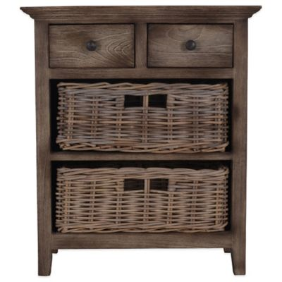 Jeffan International Teakwood 2-Drawer and 2-Basket Baker's Cabinet