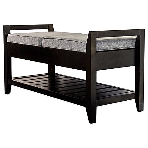 Buy Upholstered Mahogany Wood Storage Bench From Bed Bath