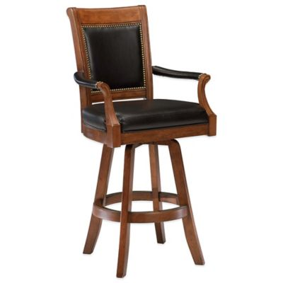 Hillsdale Kingston Game Swivel Leather Back Barstool in Cherry
