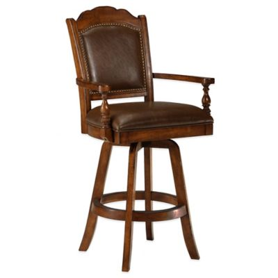Hillsdale Nassau Game Swivel Leather Back Barstool in Brown