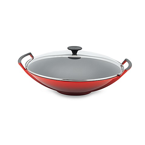 buy le creuset wok with glass lid in soleil from bed bath beyond. Black Bedroom Furniture Sets. Home Design Ideas