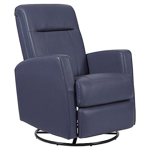 Pulaski Harper Swivel Glider Recliner Chair In Blue Bed