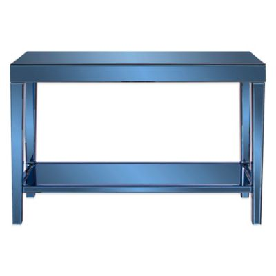 Howard Elliott Mirrored Console Table with Bottom Shelf in Cobalt Blue