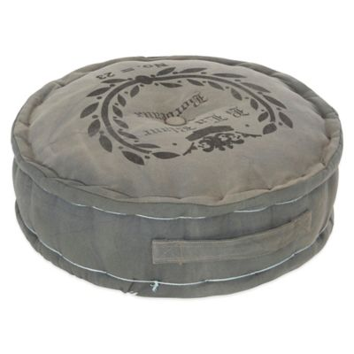 Round Floor Cushion in Faded Motif