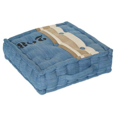 angelo:Home Square Floor Cushion in Blue Canvas