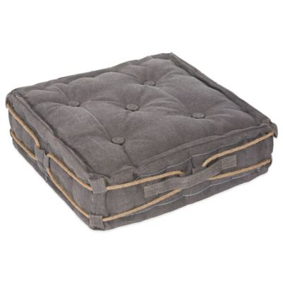 angelo:Home Square Floor Cushion in Grey Rope