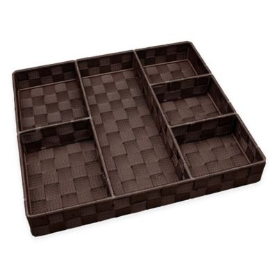 Woven Strap 6-Section Divided Drawer Organizer in Espresso