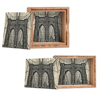 DENY Designs Medium DarkIslandCity Brooklyn Bridge on Dictionary Paper Jewelry Box