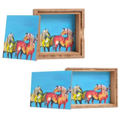DENY Designs Medium Clara Nilles Painted Ponies on Turquoise Jewelry Box
