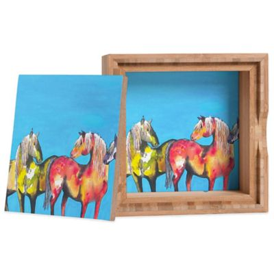 DENY Designs Small Clara Nilles Painted Ponies on Turquoise Jewelry Box