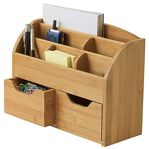 Buy lipper space saving bamboo desk organizer from bed bath beyond - Bamboo desk organiser ...