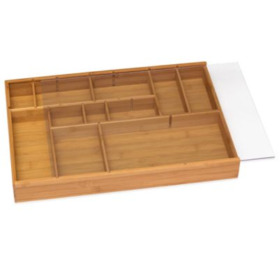 Lipper Bamboo Adjustable Drawer Organizer with Acrylic Slide Cover in Natural