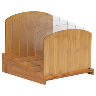 Lipper Bamboo Graduated File Organizer with Acrylic Dividers in Natural