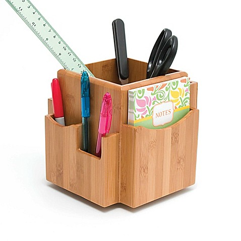 Buy lipper bamboo revolving desk organizer in natural from - Spinning desk organizer ...