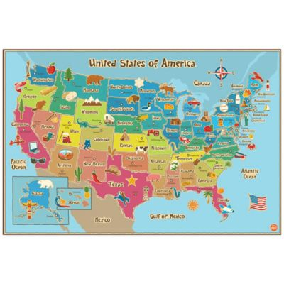 WallPops!® Kids' Dry Erase USA Map Wall Decal