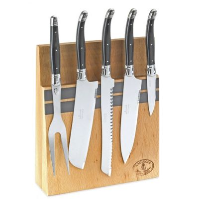 Laguiole 5-Piece Kitchen Knife Set with Magnetic Block in Black