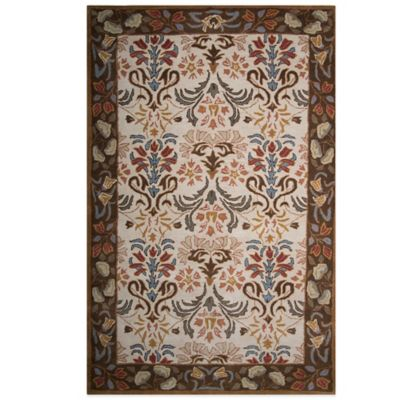 10 Floral Brown Wool Rug