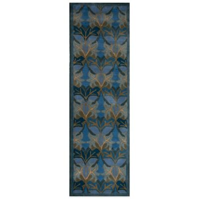 Rizzy Home Century 2-Foot 6-Inch x 8-Foot Leaf-Pattern Rug in Medium Blue