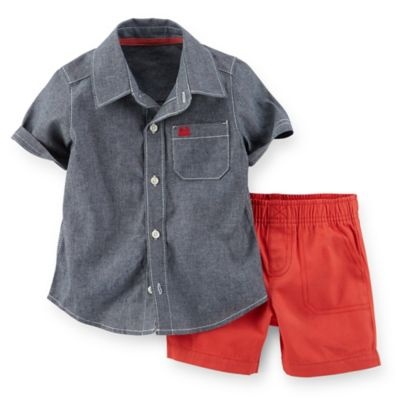 Carter's® Size 24M 2-Piece Short Sleeve Chambray Shirt and Canvas Short Set