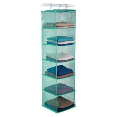 Closetware 6-Shelf Open Front Sweater Organizer in Aqua