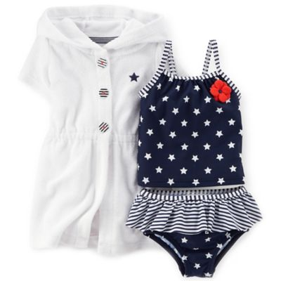 Carter's® Newborn 3-Piece Stars & Stripes Tankini Set in Navy/White