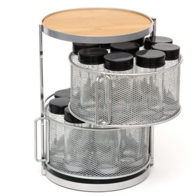 Lipper 2-Tier 18-Bottle Bamboo and Metal Round Spice Tower