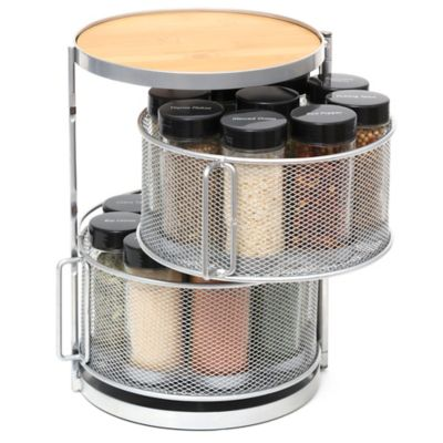 Lipper 2-Tier 18-Bottle Bamboo and Metal Round Spice Tower (With Spices)