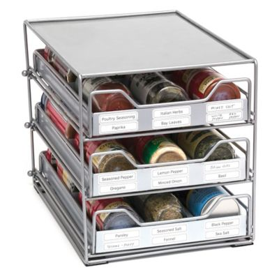 Lipper 3-Tier 18-Bottle Tilt Down Spice Drawer in Silver