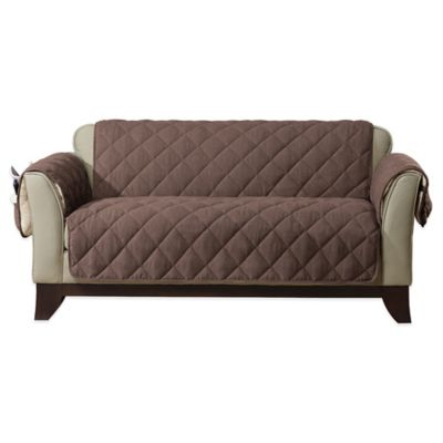 Sure Fit® Reversible Flannel and Sherpa Sofa Furniture Cover in Chocolate