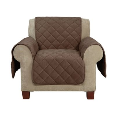 Sure Fit® Memory Foam Quilted Chair Furniture Cover in Chocolate
