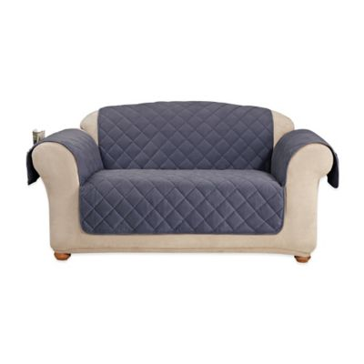 Sure Fit® Memory Foam Quilted Love Seat Furniture Cover in Blue