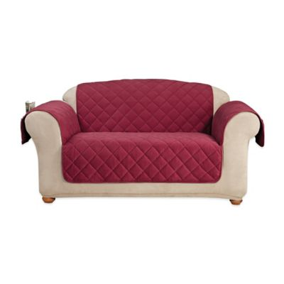Sure Fit® Memory Foam Quilted Love Seat Furniture Cover in Burgundy