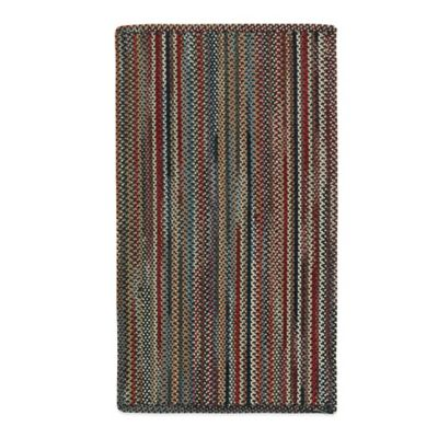 Capel Portland Vertical Stripe 3-Foot x 5-Foot Indoor Braided Rug - Coal