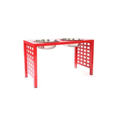 Modern Grid Large Double Pet Feeder in Red