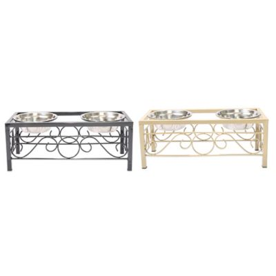 Deco Metal Large Double Pet Feeder in Gold