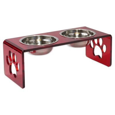 Acrylic Paw Small Double Pet Feeder in Red