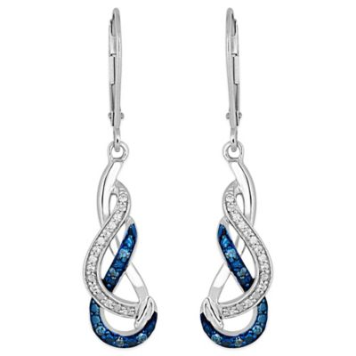 Sterling Silver .09 cttw Blue and White Diamond Free-Form Dangling Earrings