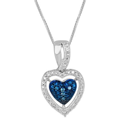 Sterling Silver .08 cttw Blue and White Diamond Framed Heart Pendant Necklace