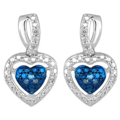 Sterling Silver .08 cttw Blue and White Diamond Framed Heart Earrings