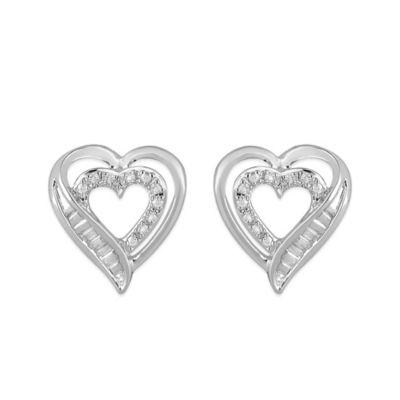 Sterling Silver .07 cttw Diamond Open Heart Stud Earrings
