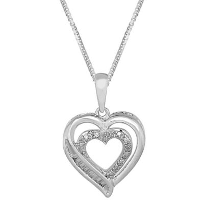 Sterling Silver .07 cttw Diamond Open Heart 18-Inch Chain Pendant Necklace