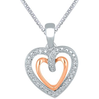 10K Rose Gold and Sterling Silver .03 cttw Diamond Double-Heart 18-Inch Chain Pendant Necklace