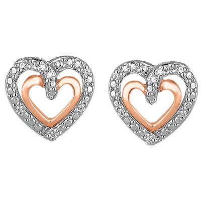 10K Rose Gold and Sterling Silver .04 cttw Diamond Double-Heart Stud Earrings
