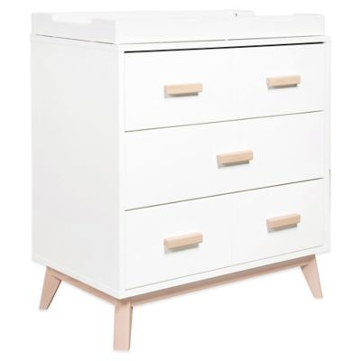 Babyletto Scoot 3-Drawer Changer Dresser in White/Washed Natural