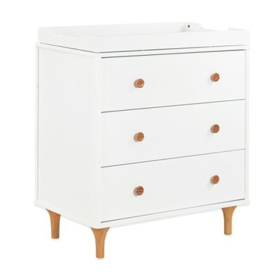 Dressers > Babyletto Lolly 3-Drawer Changer Dresser in White/Natural