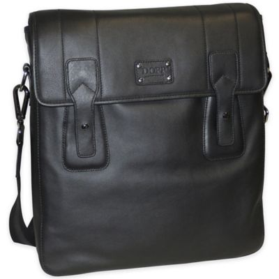 Dopp Gear Leather Urban Messenger Bag in Black