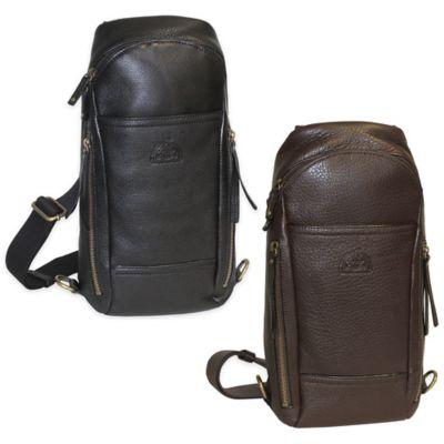 Dopp SoHo Leather Sling Backpack in Black