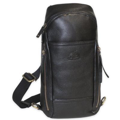 Dopp SoHo Leather Sling Backpack in Black